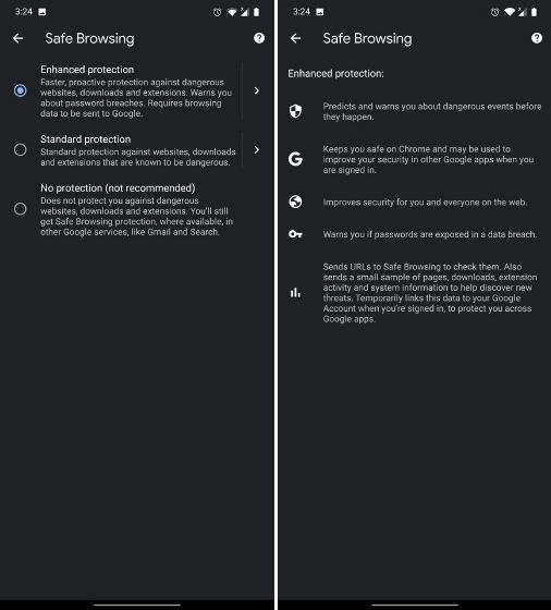Habilitar la navegación segura mejorada en Chrome para Android