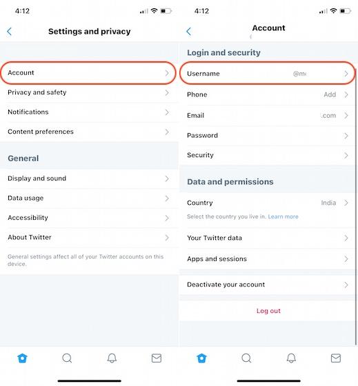 2. Измените идентификатор Twitter с помощью мобильного приложения.