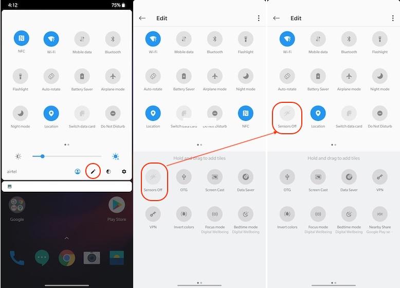 5. Отключите датчики слежения на смартфоне Android.