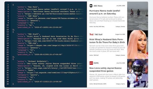 API Mediastack работает