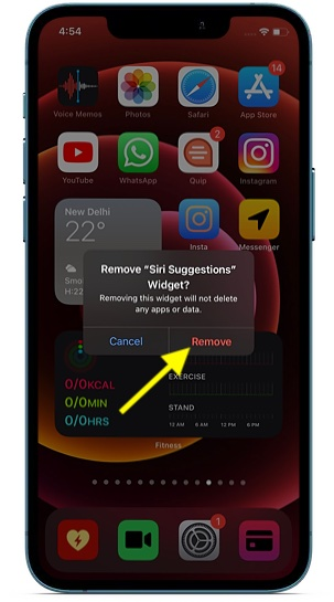 Eliminar la aplicación de la pantalla de inicio