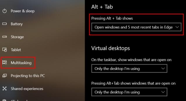 Eliminar pestañas de Microsoft Edge de Alt + Tab Switcher