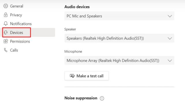 Включение шумоподавления в Microsoft Teams
