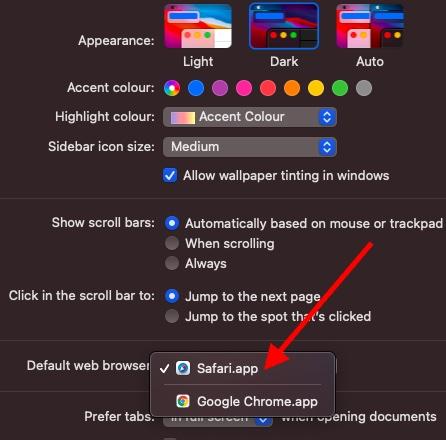 Изменить приложение браузера по умолчанию на Mac