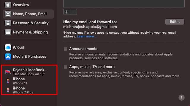 Проверьте устройства, связанные с Apple ID