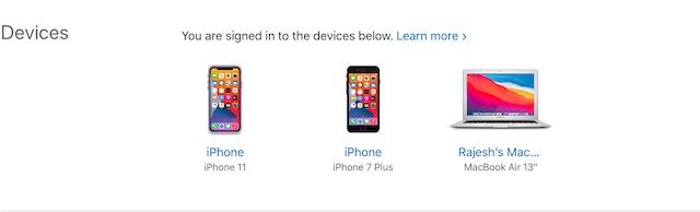 Проверьте устройства, связанные с Apple ID в Интернете