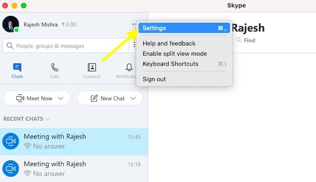 Elija la opción Configuración en Skype