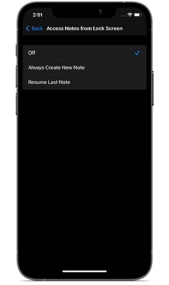 Отключить доступ к Apple Notes с экрана блокировки