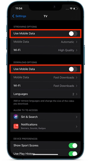 Отключить использование мобильных данных для Apple TV +
