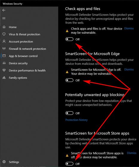 Отключить фильтр SmartScreen в Windows 10