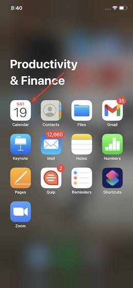 Запустите приложение Apple Calendar