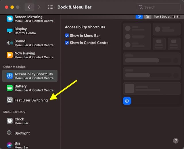 MacOS big Sur - быстрое переключение пользователей