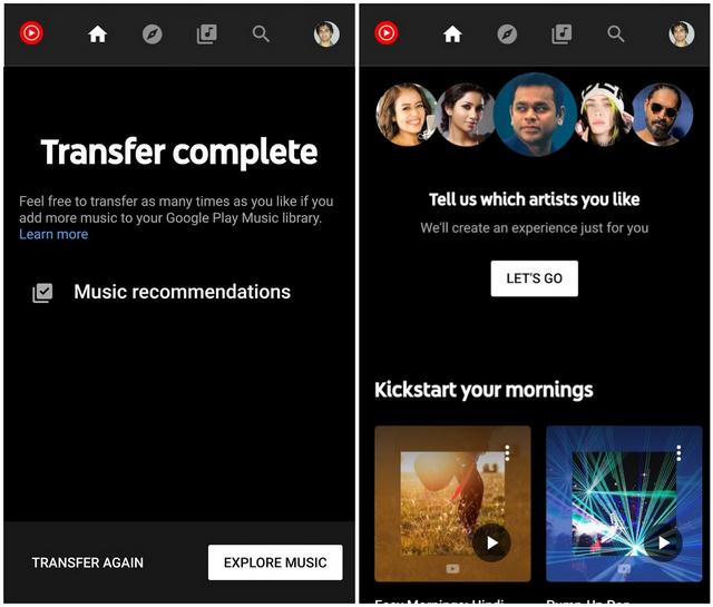 Música de YouTube que muestra el mensaje de transferencia completa