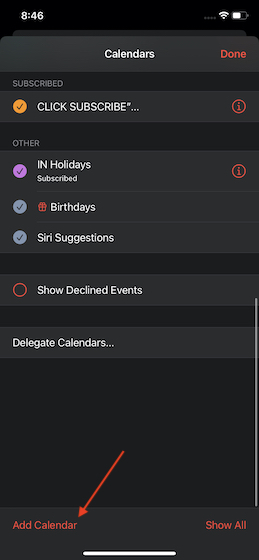 Нажмите на добавить календарь