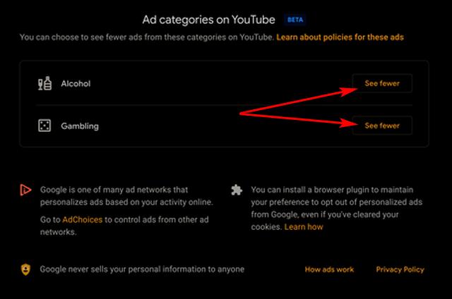 Остановить рекламу алкоголя и азартных игр на YouTube
