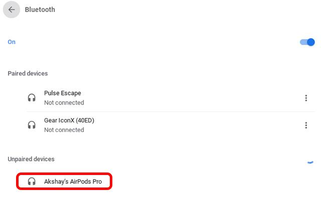 Airpods Pro готовы к сопряжению с Chromebook