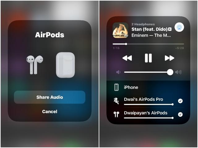 обмен аудио через airpods как