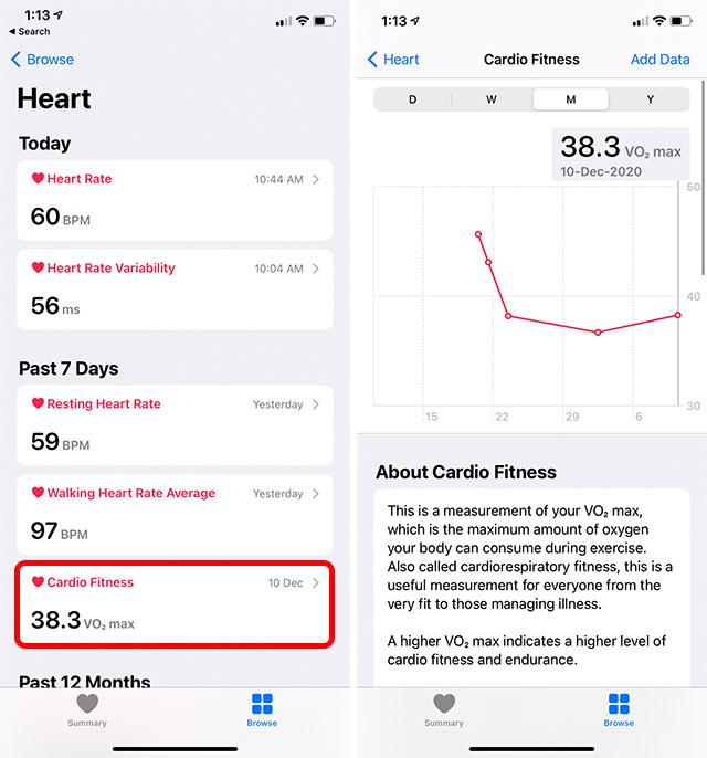 проверьте кардио-фитнес на iphone