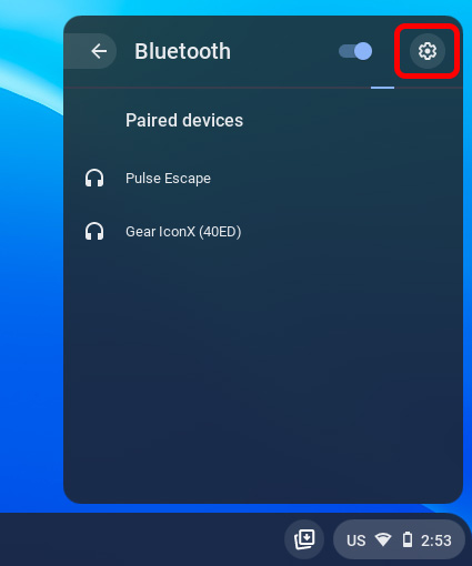 значок настроек bluetooth chromebook