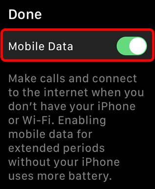 отключите мобильные данные, чтобы продлить срок службы батареи Apple Watch