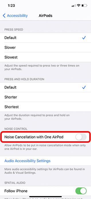 включить шумоподавление с помощью одного аэродрома iphone