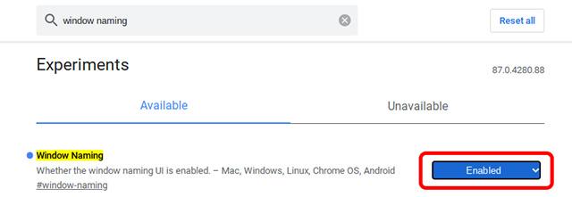 включить именование окон Chrome OS