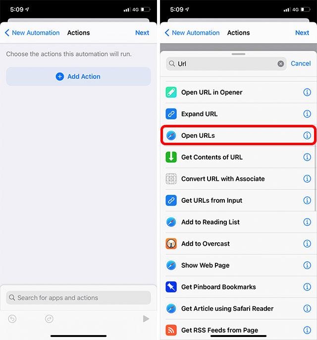 открытые URL-адреса Siri Automation