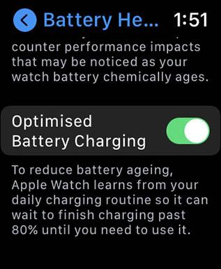 оптимизированная зарядка аккумулятора в яблочных часах
