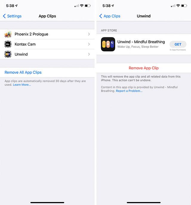 удалить клипы приложений iphone