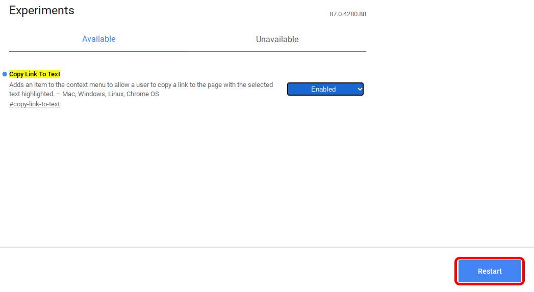 reiniciar Chromebook para habilitar la bandera