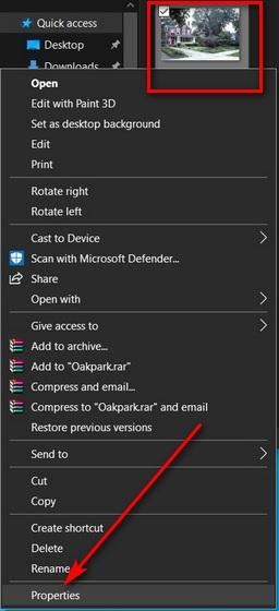 Удалить метаданные изображения в Windows 10