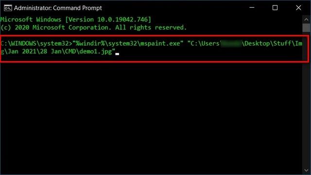 Укажите приложение для открытия файла с помощью командной строки