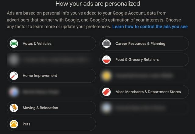 categorías de publicidad online