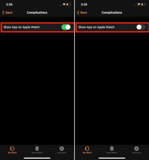 Показать или скрыть приложения на Apple Watch