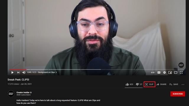кнопка клипа на YouTube