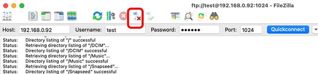 filezilla отключить сервер