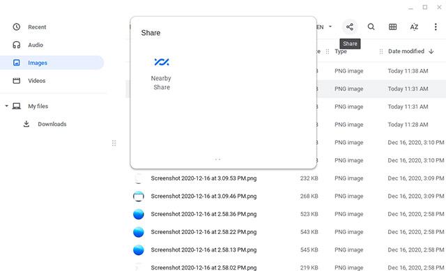 опция совместного использования рядом с Chromebook