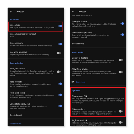 сигнал блокировки экрана и PIN-код
