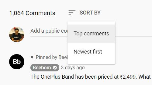 сортировать комментарии на YouTube