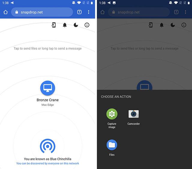 передавать файлы между Android и Mac Snapdrop