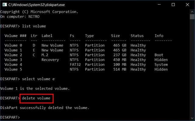 eliminar volumen Fusionar varias particiones del disco duro con Diskpart