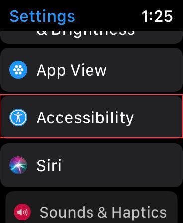 Нажмите на доступность на Apple Watch
