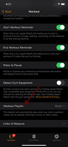 Tippen Sie auf die Workout-Wiedergabeliste