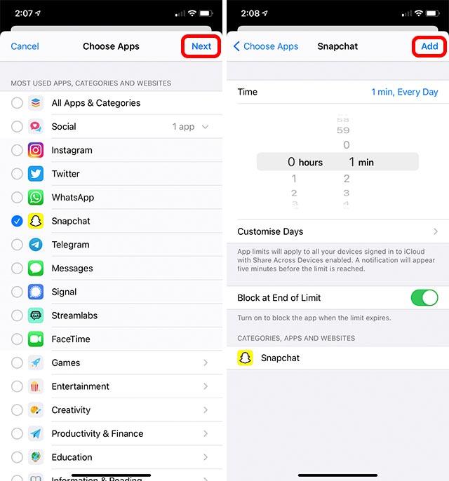ограничение времени экрана для Snapchat