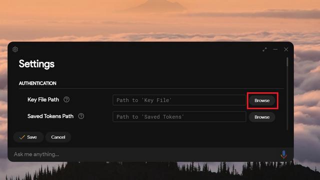 установить путь к ключевому файлу
