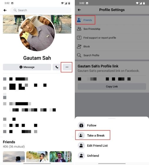Cómo tomar un descanso de alguien en Facebook