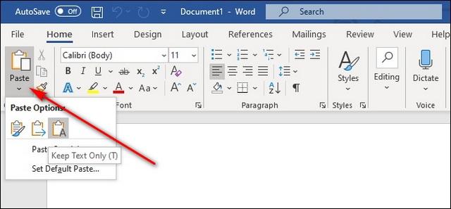 MS Word copia texto sin formato sin formatear