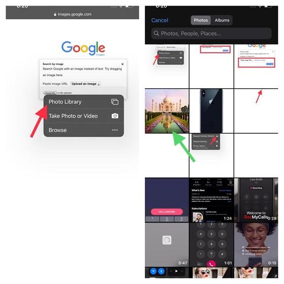Elija una foto del carrete de la cámara: búsqueda inversa de imágenes en iPhone