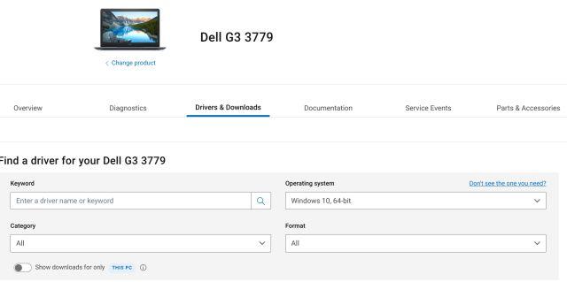 Controladores de portátiles Dell para Windows 10