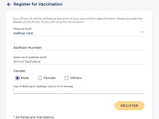 cowin - registrarse para la vacuna covid-19 en India